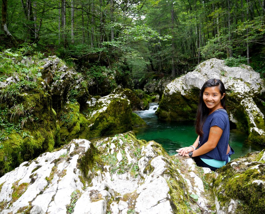 Self-timer-selfie-at-Mostnica-gorge,-bohinj-region,-slovenia