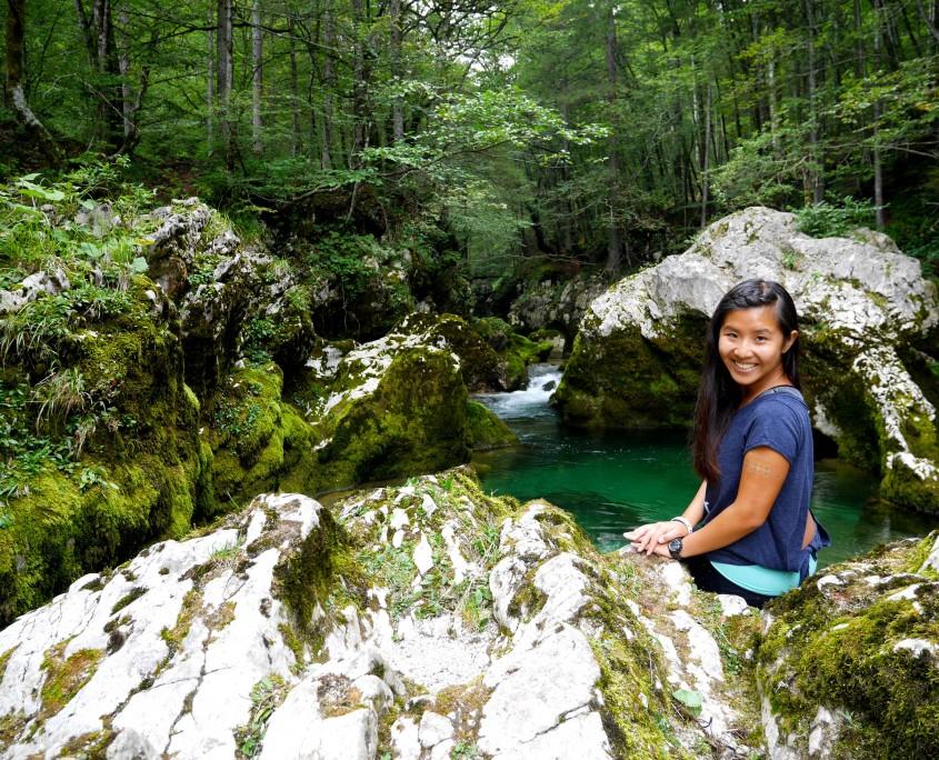 Self-timer-selfie-at-Mostnica-gorge,-bohinj-region,-slovenia