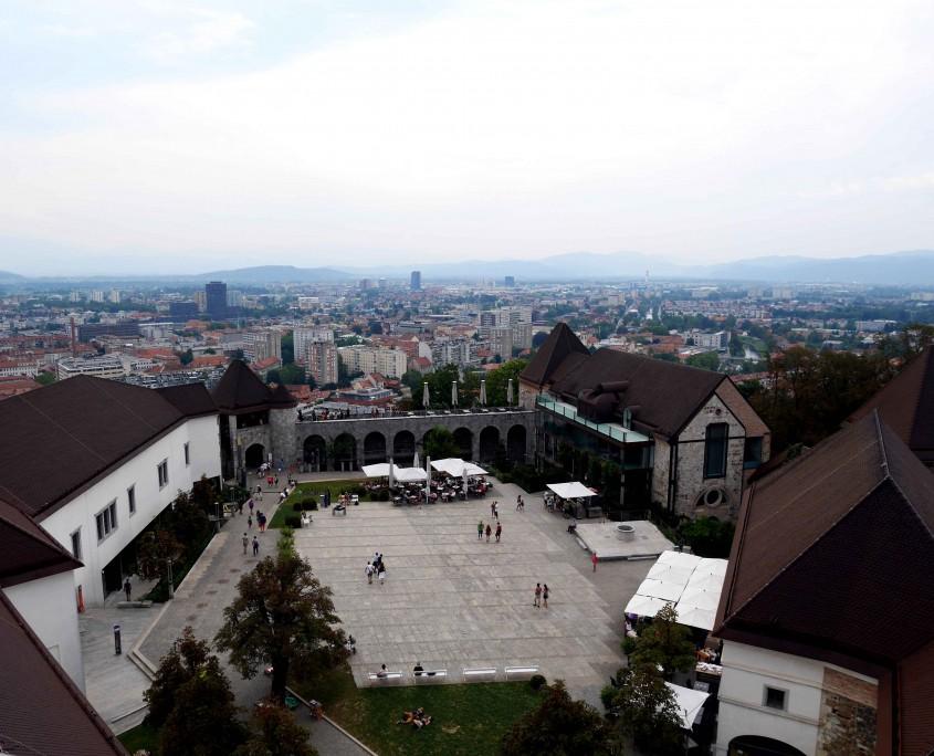 View-of-Ljubljana-from-the-tower-of-Ljubljana-Castle,-Ljubljana,-Slovenia