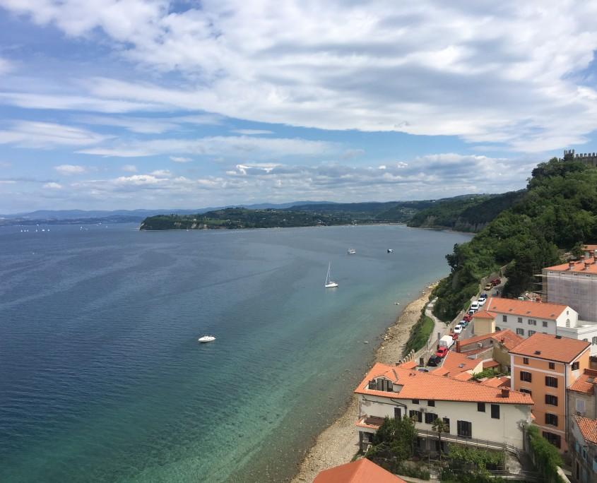 Piran beach from bell tower